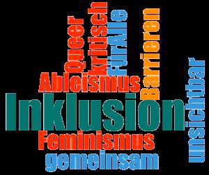 Wortwolke Inklusion Feminismus Ableismus